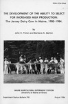 B792: The Development of the Ability to Select for Increased Milk Production: The Jersey Dairy Cow in Maine, 1900-1984