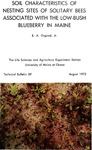 Soil Characteristics of Nesting Sites of Solitary Bees Associated with the Low-Bush Blueberry in Maine
