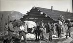 Group: Hikers, Horse, Cabin (Untitled) by Bert Call