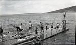 Lake Scene - Swimmers on Pier (Untitled) by Bert Call