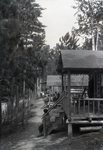 Cabins and Path at Togue Pond (with People) by Bert Call