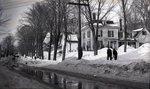 Men Walking in Winter Past House by Bert Call