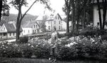 Woman and Peony Garden by Bert Call