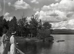Rangeley Area, Women on a Bridge by Bert Call