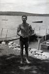 Wassookeag School Swimmer with Trophy by Bert Call