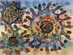 ART 460 - COVID dances through the air by Cheryl Coffin