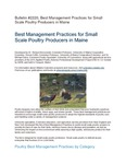 Bulletin 2220: Best Management Practices for Small Scale Poultry Producers in Maine by Richard Brzozowski, Donna R. Coffin, and Michael Darre