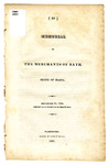 Memorial of the Merchants of Bath, State of Maine, December 12, 1820 by Unidentified