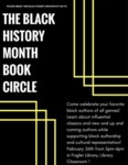 Flyer of the The University of Maine's Black Student Union hosted event of Black History Month Book Circle