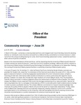 The University of Maine Office of the President's Community Message on the Clarence C. Little Hall Name Change and Task Force