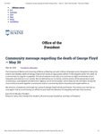 The University of Maine Office of the President's Community Message Regarding the Death of George Floyd