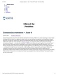 The University of Maine Office of the President's Community Statement on Racist behaviors of a Prospective Incoming UMaine Student