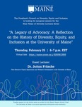 A Legacy of Advocacy: A Reflection on the History of Diversity, Equity, and Inclusion at the University of Maine Poster by University of Maine