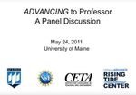 ADVANCING to Professor: A Panel Discussion (2011) by Amy Fried; Eleanor Groden; Dorothy Klimis-Zacas; John Rebar; Beth Wiemann; and Francine Sulinski, Moderator