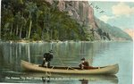 """Fly Rod"" Crosby Landing a Big One at Mt. Kineo, Moosehead Lake, Me. Postcard"