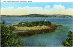 Dog Island and Light, Eastport, Maine Postcard