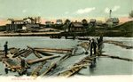 Slucing Logs, Milo, Maine, Postcard