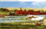 Old Town Dam and Woolen Mills Postcard
