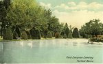 Portland, Maine, Pond in Evergreen Cemetery Postcard