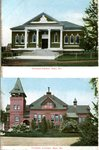 Saco, Maine, Thornton Libary and Thornton Academy Postcard