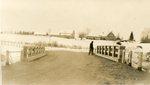 Island Falls, Maine, Man Standing on Bridge