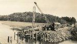 Newcastle, Maine, Crane at Construction Site of Marsh Bridge