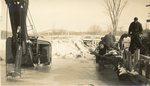 Paris, Maine, Men Operating a Machine at Trap Corner Bridge