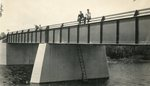 Passadumkeag, Maine, Men Sitting on Bridge