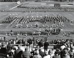 Band in formation on the football field, 1984.